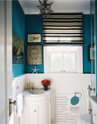 Hillary Thomasu0027 Deep Teal Bathroom Via Lonny