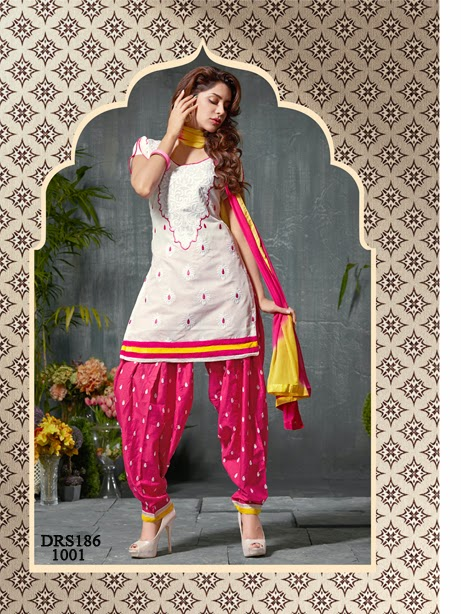 Buy Latest Chanderi Cotton Dress Material