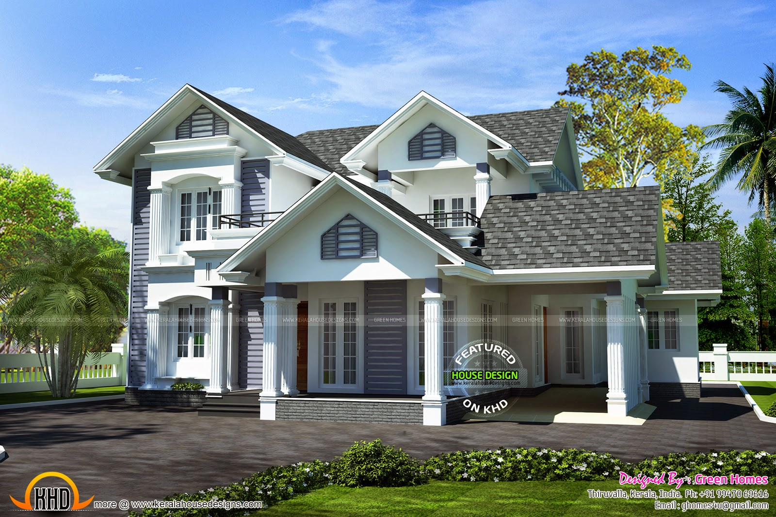 Modern Sloped Roof 4 Bhk House Kerala Home Design And