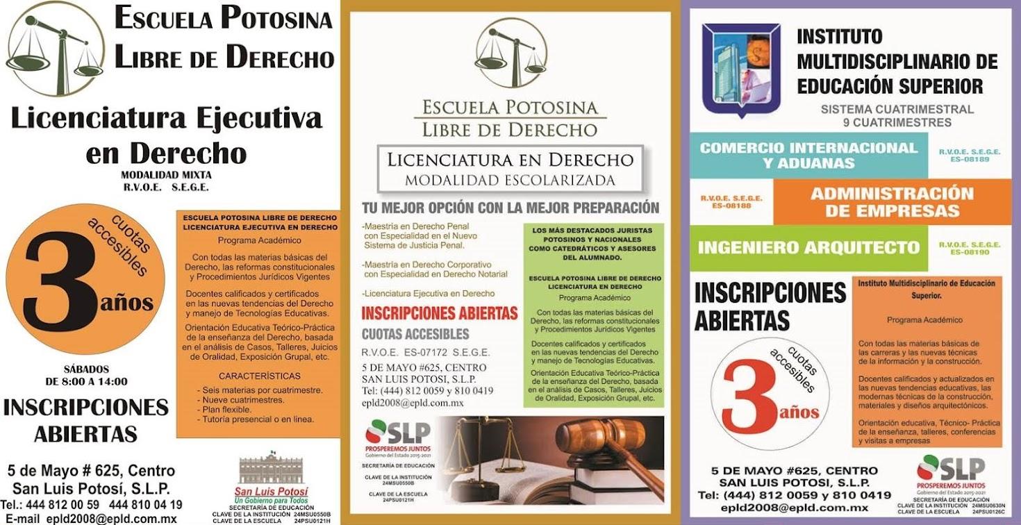 Escuela Potosina Libre de Derecho: Licenciaturas y Posgrados.