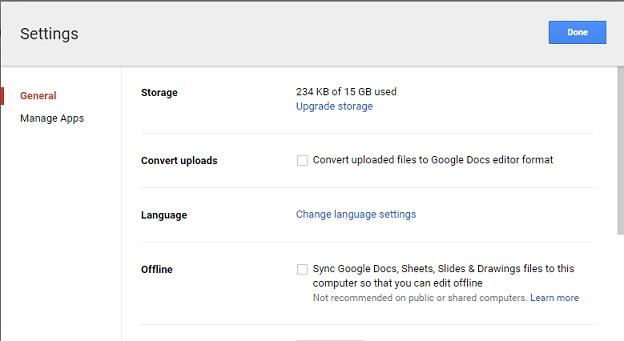 google drive language
