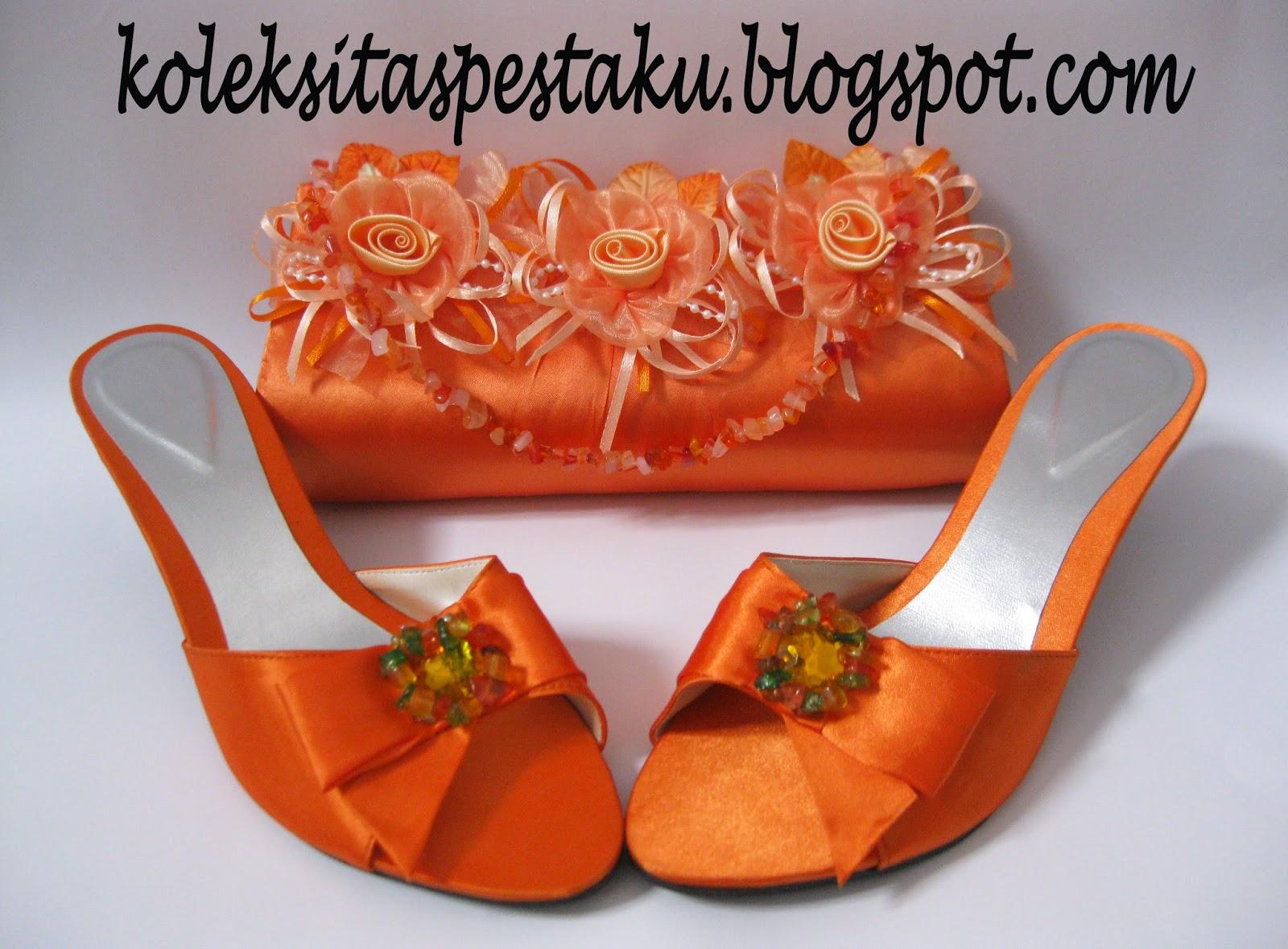 Orange Tas Pesta dan High Heels Mewah Unik
