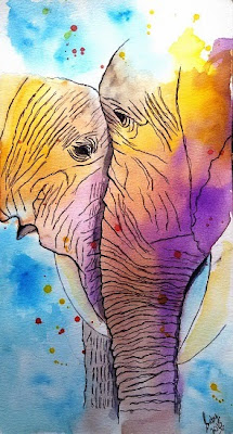 Gentle Giants, watercolour painting by Sarabjit (part of her portfolio on www.indiaart.com)
