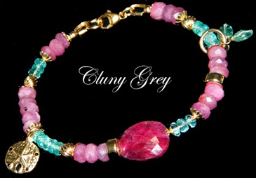 ruby bracelet with gold and apatite