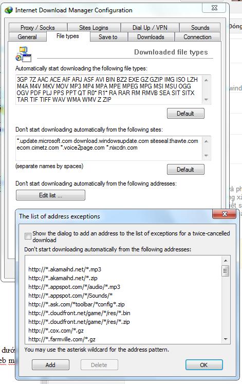 """Bổ sung địa chỉ trang Web vào danh sách không cho IDM tự động """"bắt"""" link."""