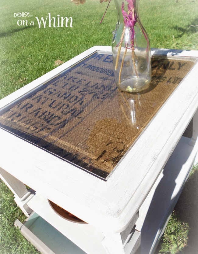 Lettered Burlap Coffee Sack on a Table Makeover frorm Denise on a Whim