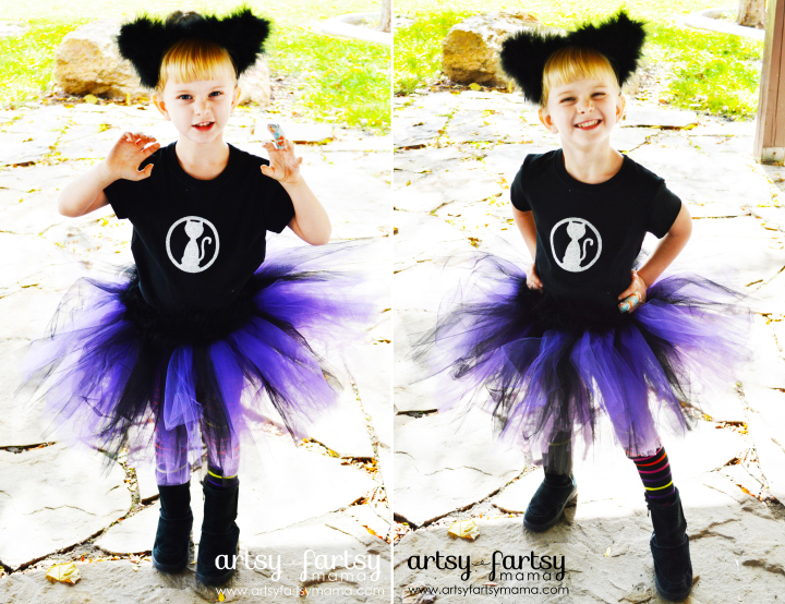 No-Sew Cat Costume at artsyfartsymama.com #Halloween #costume #kidscostume #nosew