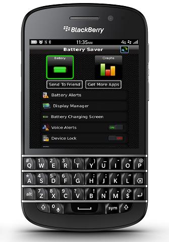 ¿Te preguntas cual puede ser la aplicación o utilidad que más pueda estar consumiendo la batería de tu BlackBerry 10? Ahora podrás identificar exactamente lo que está disminuyendo la duración de la pila en tu BlackBerry 10 con Battery Saver, disponible fácilmente en la tienda de BlackBerry World de Venezuela. Esta aplicación te permitirá analizar minuciosamente el performance de tu dispositivo y te proveerá de técnicas avanzadas para cuidar la carga y vida de la batería de tu BlackBerry. Uno de sus mejores atributos que tiene esta aplicación es la creación de tablas de gráficos de monitoreo en base al