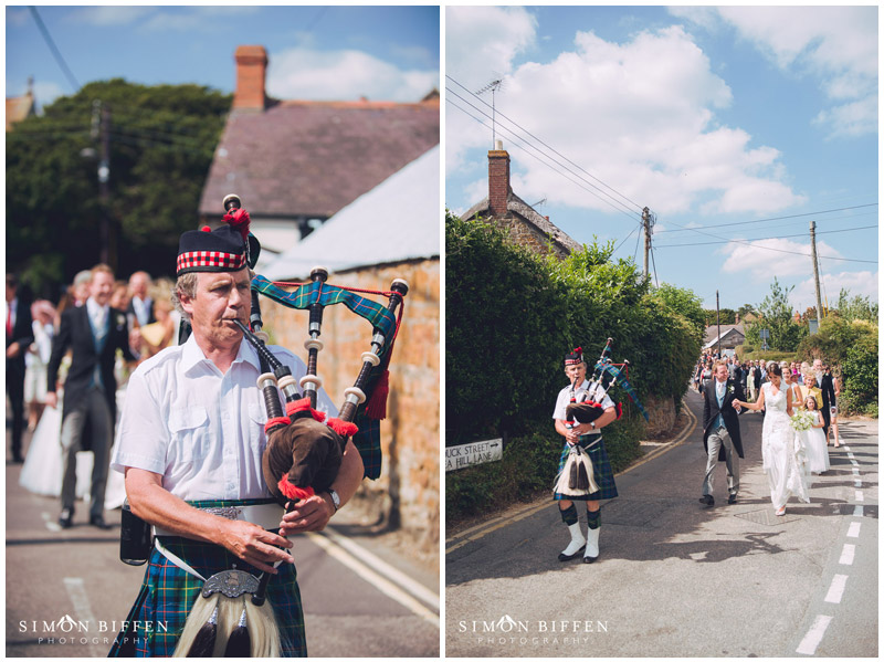 Wedding piper walking