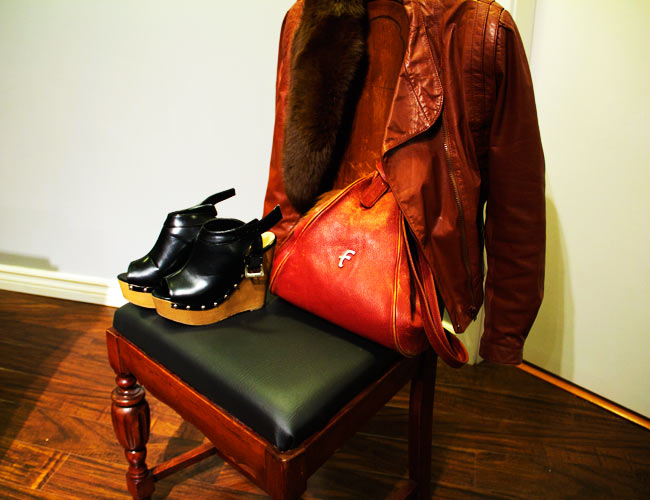 Fenneli Purse, Platform wedge sandals, fur collar, Community Thrift and Vintage, Brown leather jacket