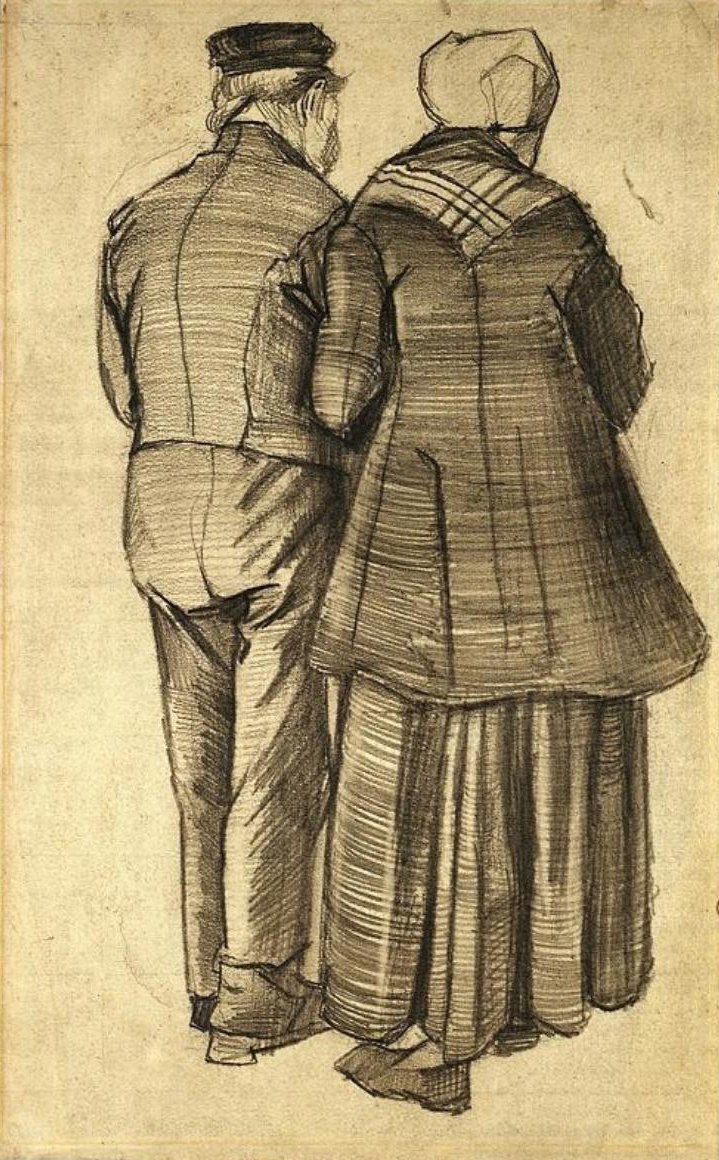 art artists vincent van gogh drawings part  1882 man and w seen from the back