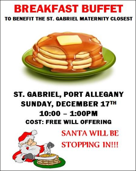 12-17 Breakfast Buffet, St. Gabriel's, Port Allegany