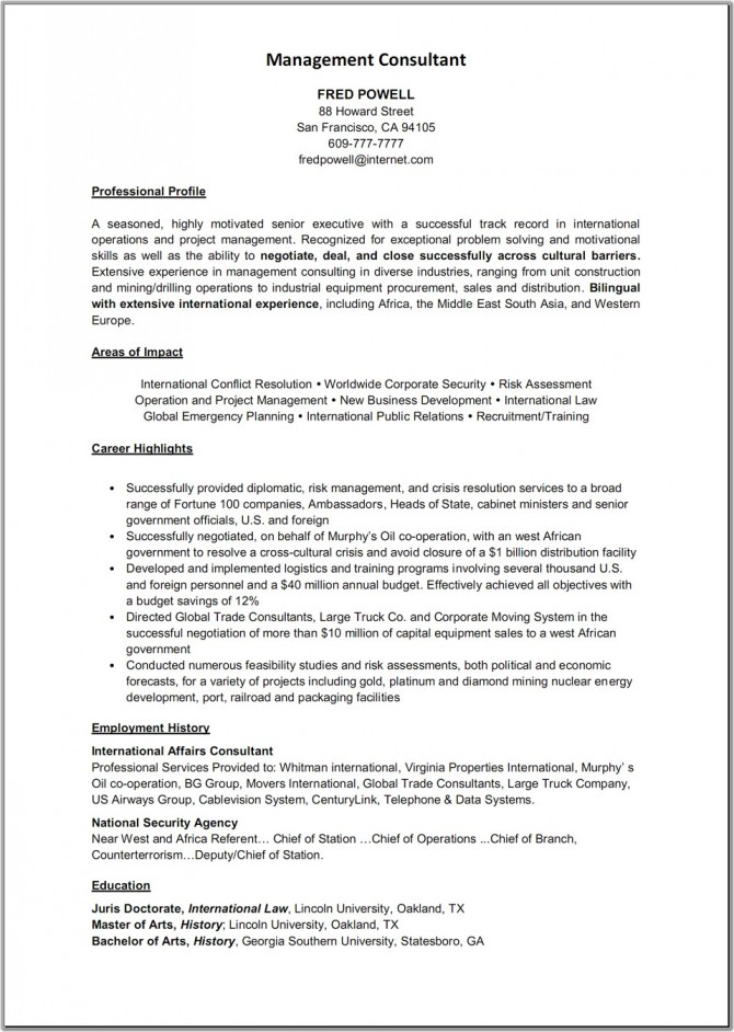 Business Consulting Resume Objective Vosvetenet – Consulting Resume