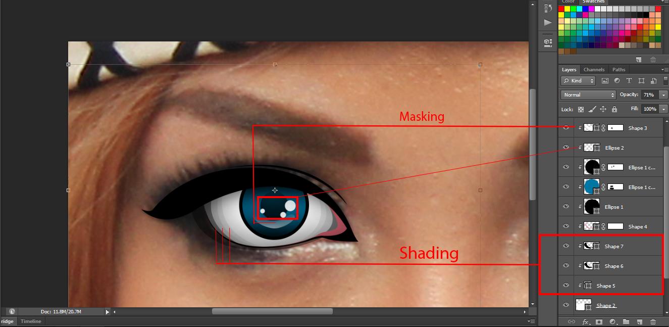 Tutorial membuat vektor kartun photoshop part 2 coloring and shading -  Pada Tahapan Ini Tambahkan Shading Pada Bagian Putih Mata Dan Tambahkan Elips Dengan Warna Dasar Putih Di Bagian Tengah Mata Agar Terlihat Seperti Nya