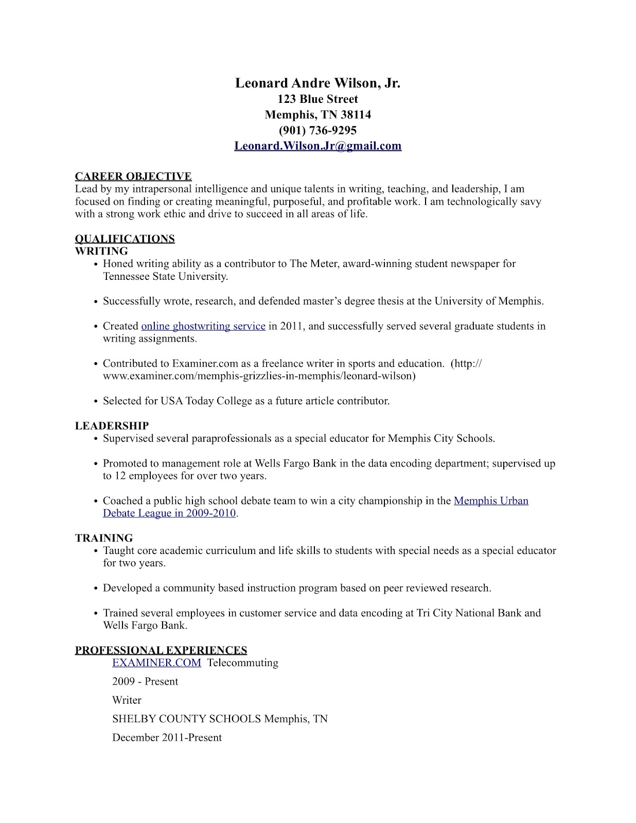following my passion to success  career tools  sample resume featuring top three competencies