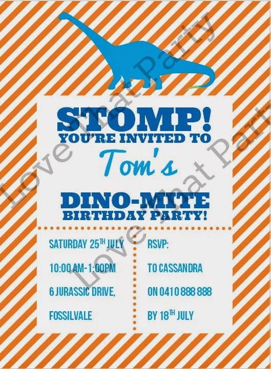Printable Dinosaur Stomp Birthday Party Invitation by Love That Party. www.lovethatparty.com.au