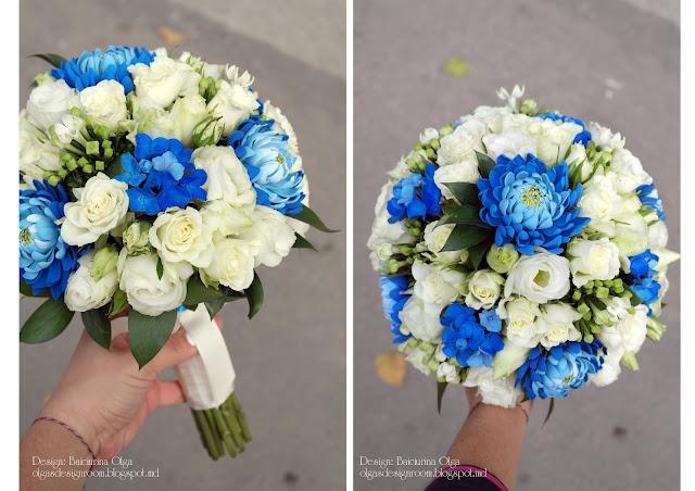 Букеты невесты с белыми и синими цветами фото