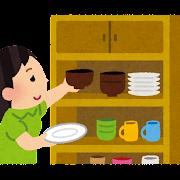 食器を片付けている女の子のイラスト