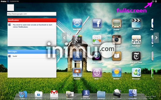 iPadian, iPad emulator for PC - Dash (fullscreen)