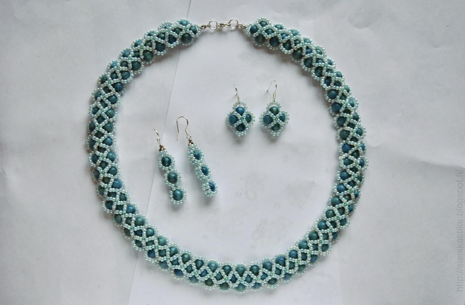 деревянные бусины6 чешский бисер, светло-голубой, бирюзовый, серьги, колье, ожерелье