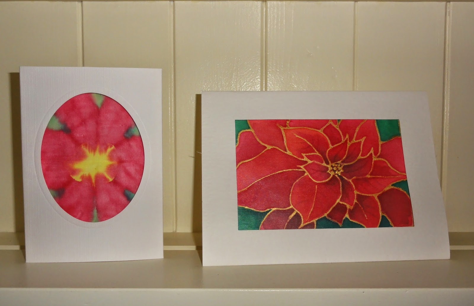 Colours and textures poinsettias on silk greetings cards i have written a step by step demo for leisure painter magazine jan 2015 out dec 6th on painting poinsettias on silk for greeting cards kristyandbryce Gallery