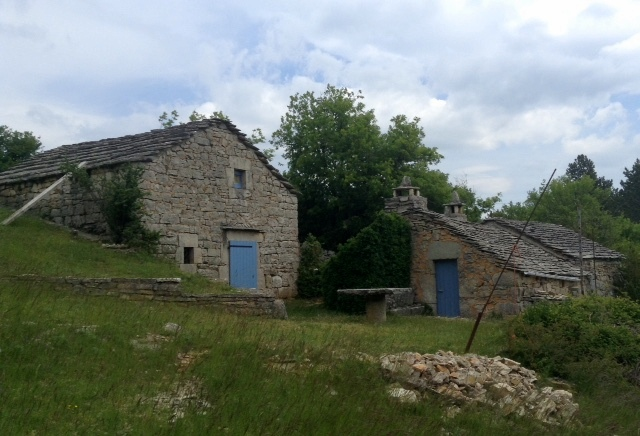 ancient stone cottages near Le Mas Andre, Languedoc, France