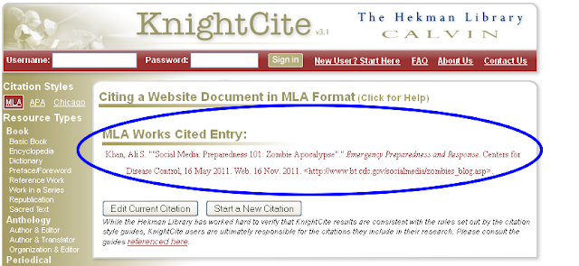 calvin college knight cite Knightcite automatic citation generator is provided by calvin college choose from mla, apa, or chicago citation styles in the upper left corner then, fill in the appropriate information, and this page creates your citation, which can then be copied and pasted as needed.