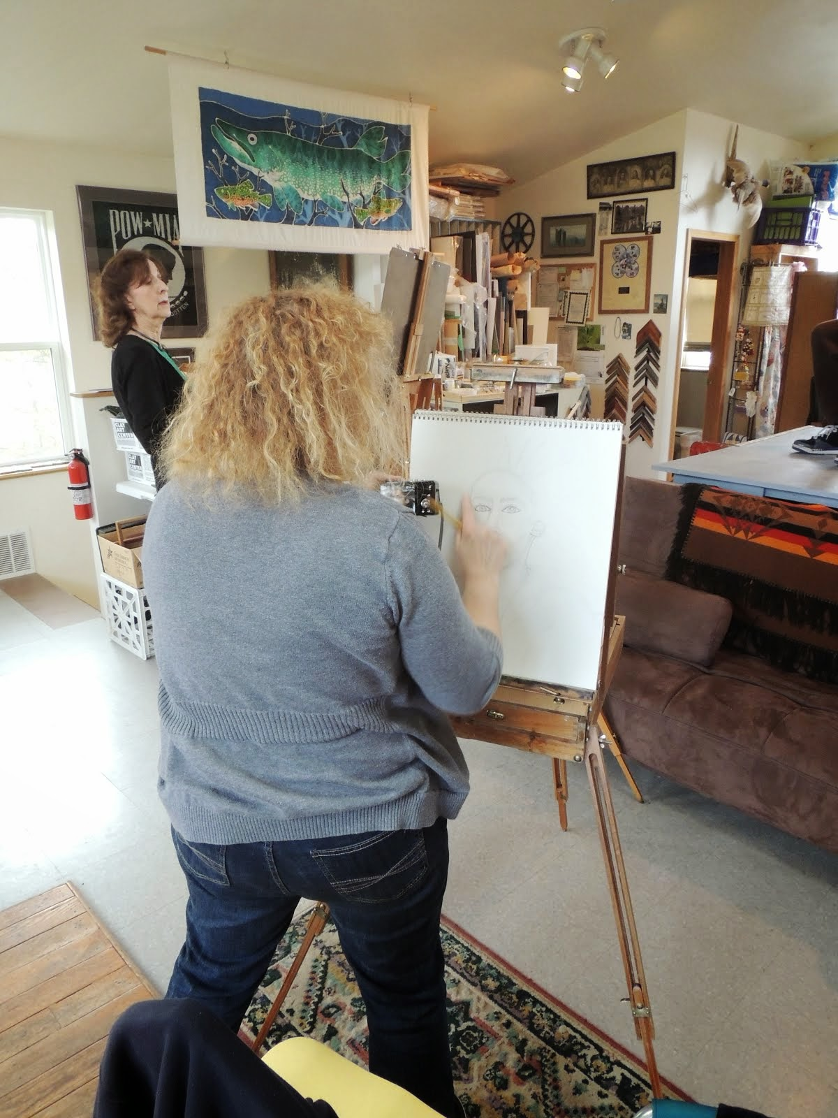 Artist working in friends studio