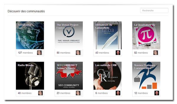 Champ recherche de communautés Google+