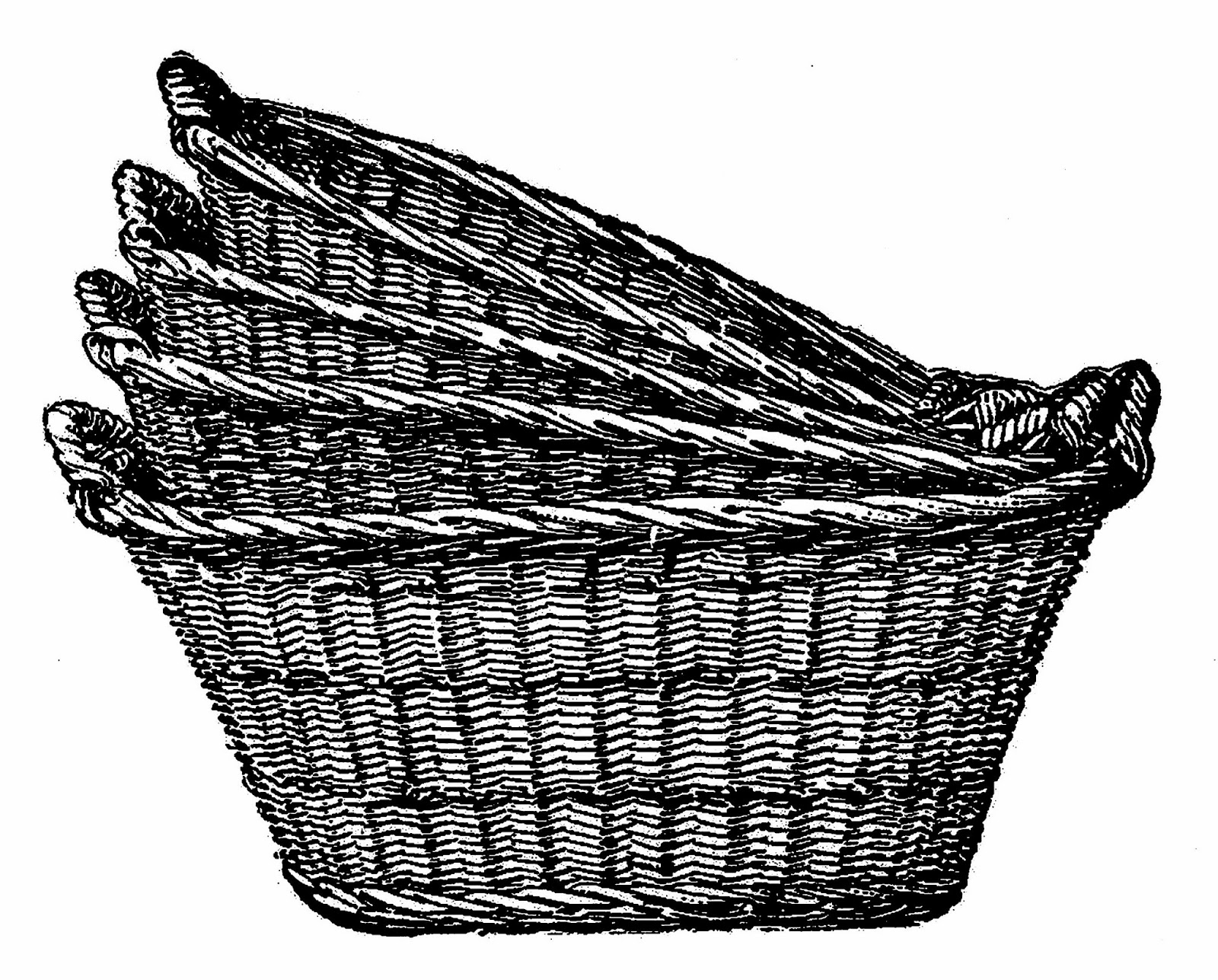 Antique images digital clip art of 4 wicker laundry for Clipart basket