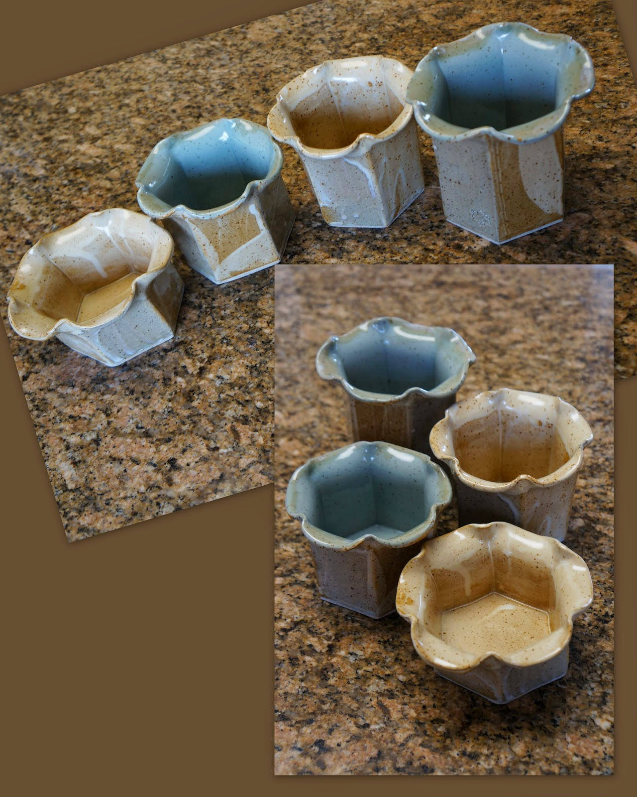 Set of four tulip-shaped handmade clay stoneware pottery vases.