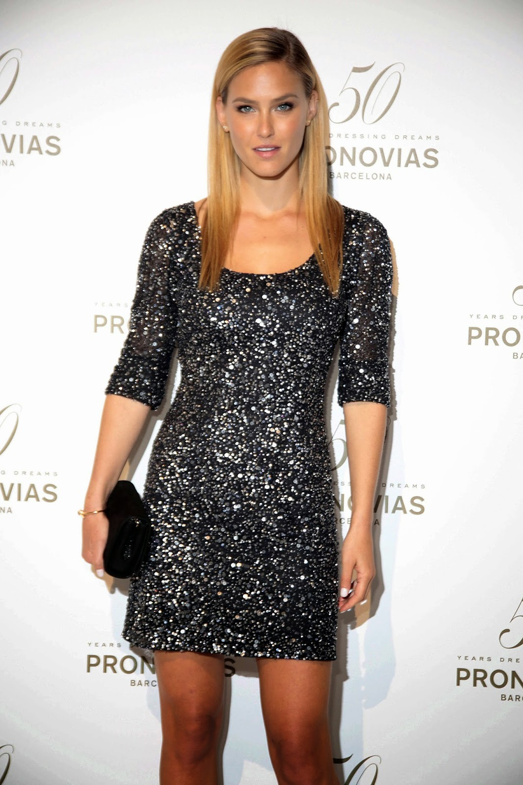 Gorgeous supermodel Bar Rafaeli at Pronovia's 50th anniversary bridal fashion show in Barcelona