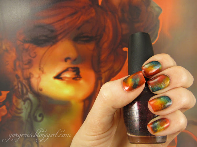 Marbled Swirled Nail art inspired by Stuart Sayger graphic novel comic book nail art