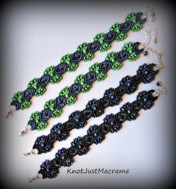 Hydrangeas micro macrame bracelets from Knot Just Macrame.
