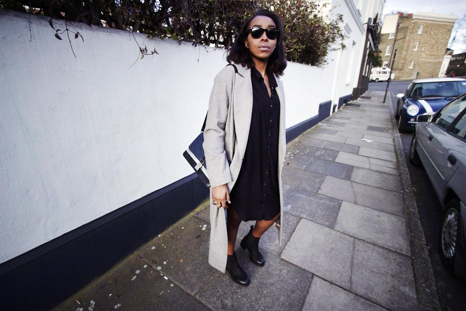 Urban Outfitters Black Longline Shirt Dress