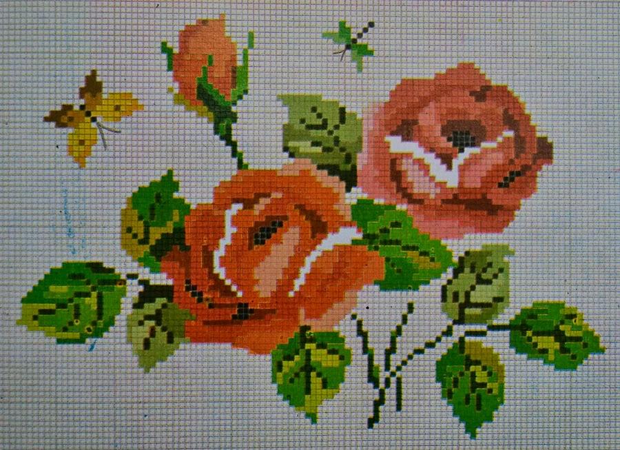 pola sulam kristik bunga mawar