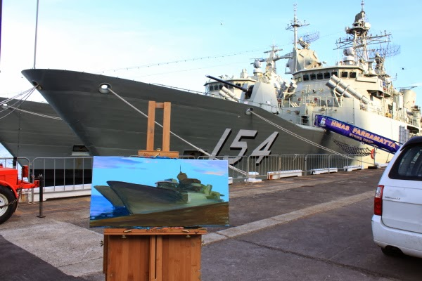 plein air oil painting of HMAS Perth and HMAS Parramatta at Barangaroo wharf during International Fleet Review by artist Jane Bennett