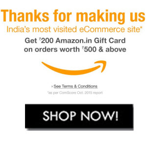 (Chennai User Only) Amazon : Get Free Rs. 200 Amazon Gift Card with Any Purchase above Rs. 500 on 15th December