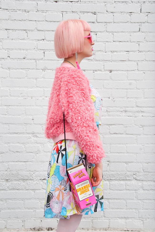 fluffy bomber jacket, skinny dip bag, neon pink bag