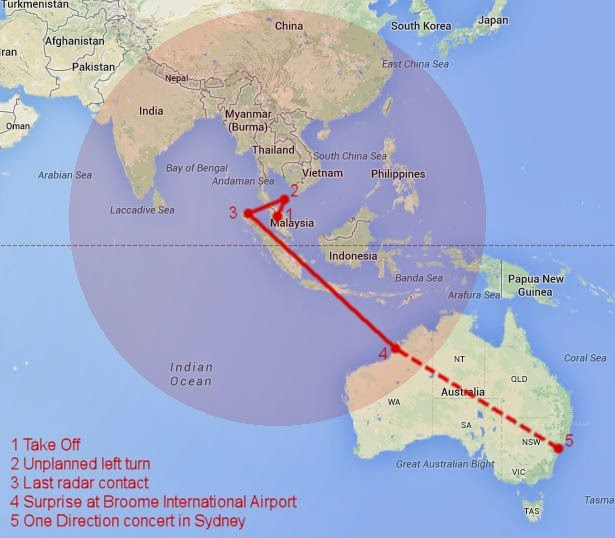 Path of missing flight MH370