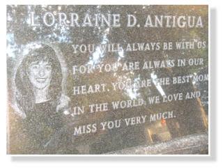 Lorraine Antigua memorial stone