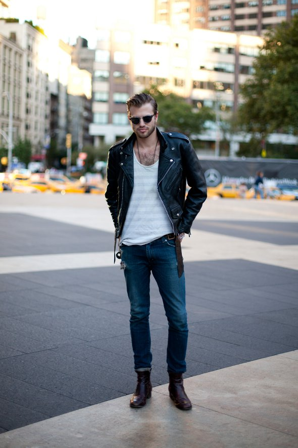 jeans boots white t-shirt and leather jacket, clubmaster sunglesses, greaser style, rockabilly style, mens street style new york,