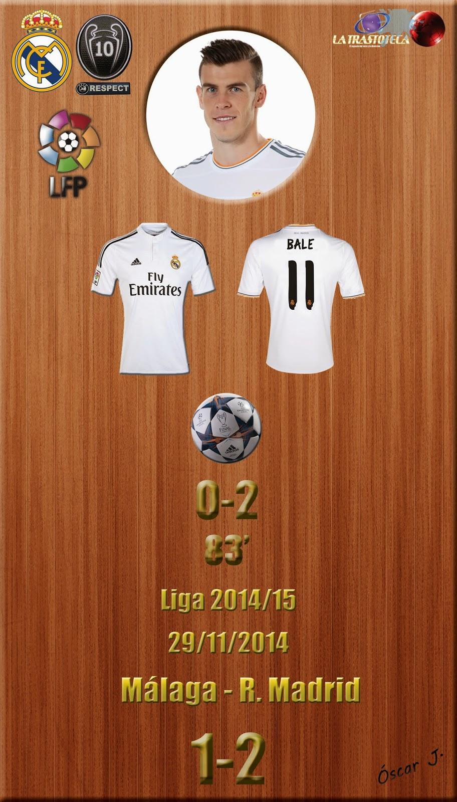 Málaga 1-4 Real Madrid. Liga 2014/15 - Jornada 13 (29/11/2014). Golazos de Benzema y Bale.