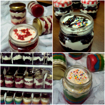 Utk Tempahan : Cake In Jar ( Rainbow Cake, Red Velved Cake, Moist Choc Cake ) With Cream Cheese