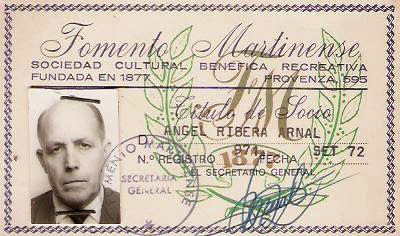 Carnet de socio del Foment Martinenc de Ángel Ribera
