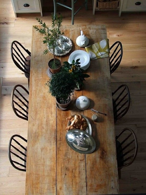 wooden rustic country kitchen table