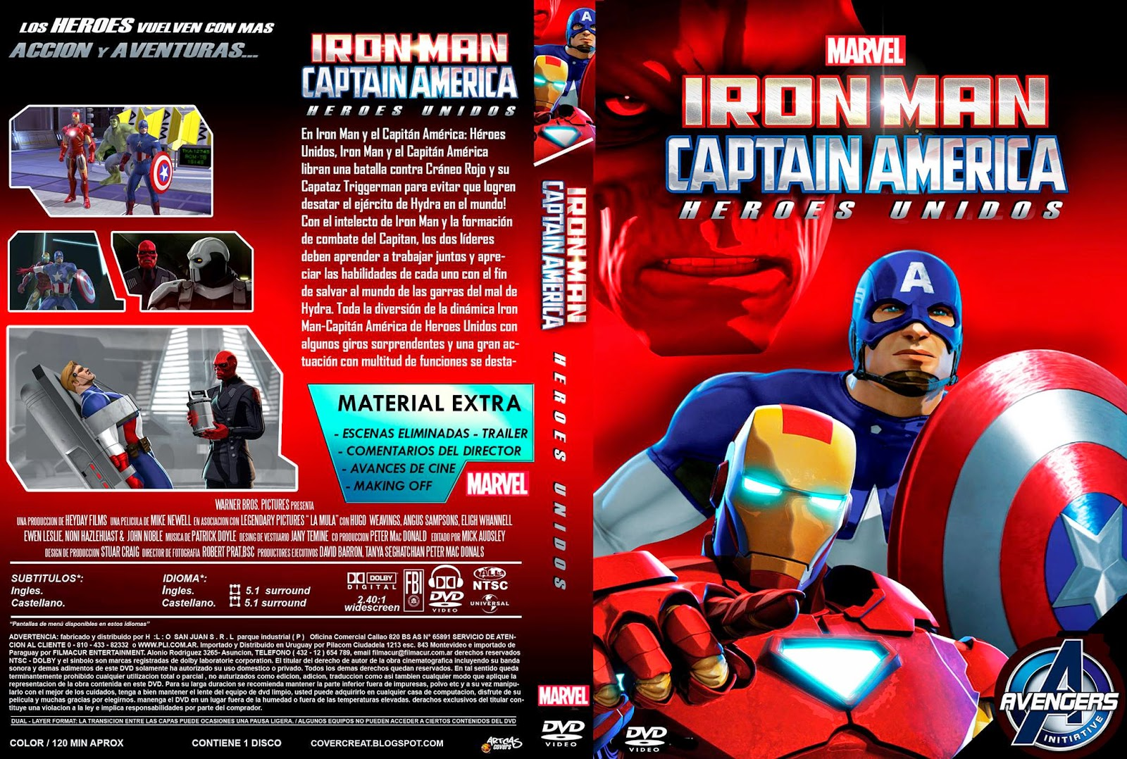 Cover: Marvel iron man capitan america heroes united dvd