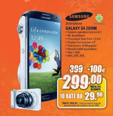 Doppio vantaggio sul Galaxy S4 ZOOM di Samsung venduto al miglior prezzo di 299 euro con finanziamento a tasso zero