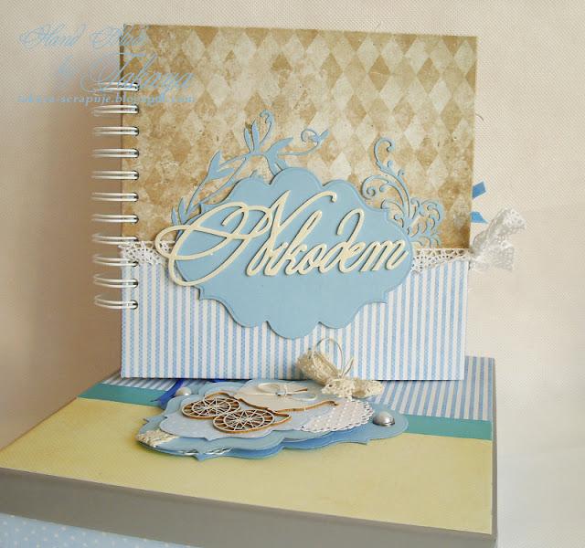 Album w pudełku; niebieski; brązowy; dziecięcy