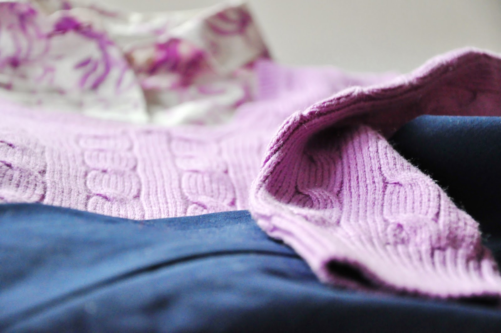 lilac pullover white shirt navy blue pants